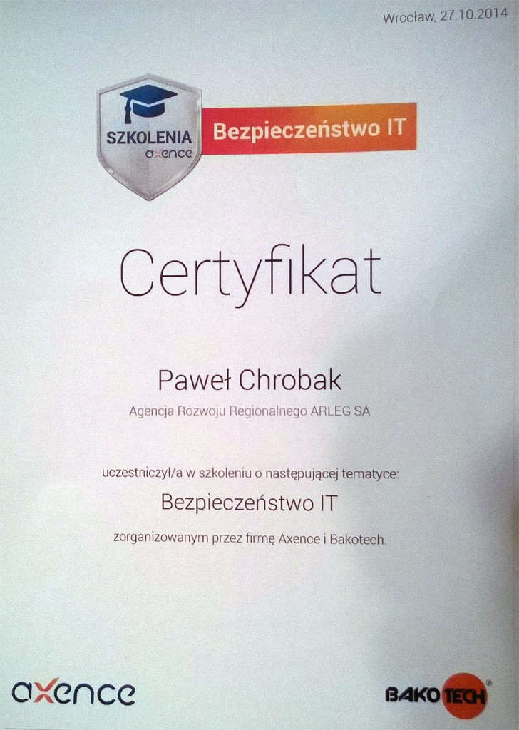 axence-certyfikat